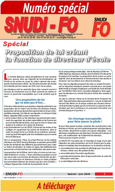 Dossier du SNUDI-FO – spécial projet de loi d'emploi fonctionnel de directeur d'école
