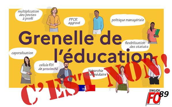 Mesures du Grenelle, Loi Rilhac, réforme du concours… tout s'assemble pour caporaliser l'Ecole – motion de la CE du SNUDI-FO 89