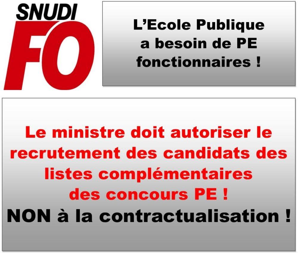 Liste complémentaire : le SNUDI-FO va porter les revendications au ministère
